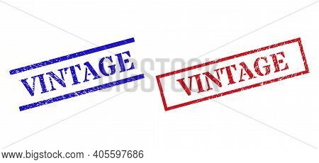 Grunge Vintage Rubber Stamps In Red And Blue Colors. Seals Have Rubber Texture. Vector Rubber Imitat
