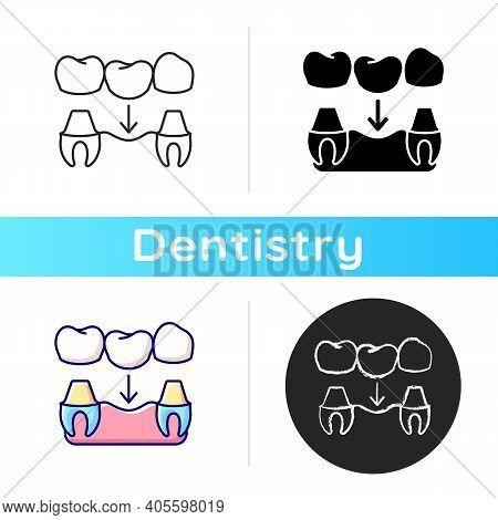 Dental Prosthetics Icon. Implant Design. Instruments For Dental Treatment. Contemporary Dental Treat