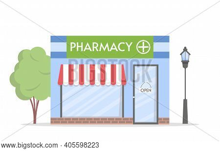 Facade Of Pharmacy Store Building With A Signboard. Pharmacy Facade In Cartoon Style. Pharmacy. Vect