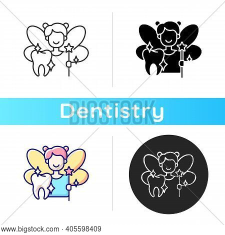 Pediatric Dentistry Icon. Painless Treatment For Dental Problems. Happy Children With Healthy Teeth.