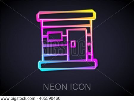 Glowing Neon Line Sauna Wooden Bathhouse Icon Isolated On Black Background. Heat Spa Relaxation Ther