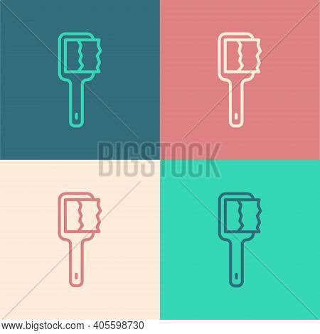 Pop Art Line Sauna Brush Icon Isolated On Color Background. Wooden Brush With Coarse Bristles For Wa