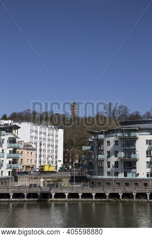 Bristol, Uk - April 8, 2019. Cabot Tower A Grade Ii Listed Building Built 1890s, Situated In A Publi