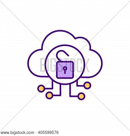 Public Cloud Rgb Color Icon. Virtual Resources Availability To Users Remotely. Storage Capabilities.