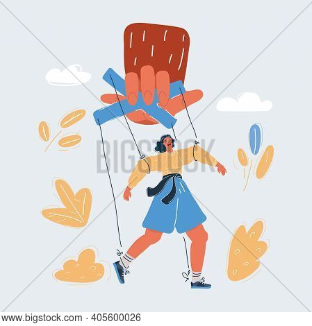 Vector Illustration Of Woman Puppet, Who Under Contorol Of Big Hand