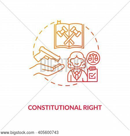 Constitutional Right Red Gradient Concept Icon. Legislation For Firearm Ownership. Gun Rights, Weapo
