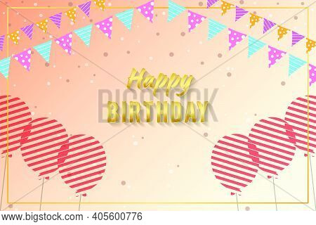 Birthday Celebration Background With Ballons And Garland