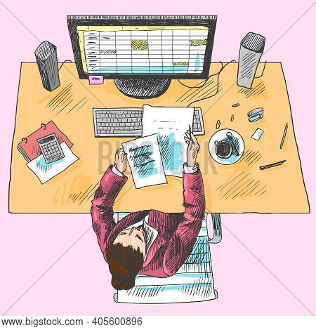 Accountant Office Employee Work Place Tools With Woman Sitting On Table Colored Top View Sketch Vect