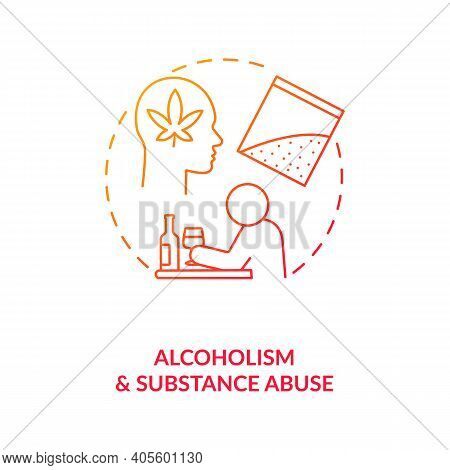 Alcoholism And Substance Abuse Red Gradient Concept Icon. Drug Addiction. Narcotic Dependence. Bad H