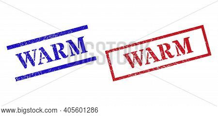 Grunge Warm Rubber Stamps In Red And Blue Colors. Seals Have Rubber Texture. Vector Rubber Imitation