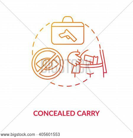 Concealed Carry Red Gradient Concept Icon. Hidden Firearm. Pistol For Defense. Weapon Ownership Regu