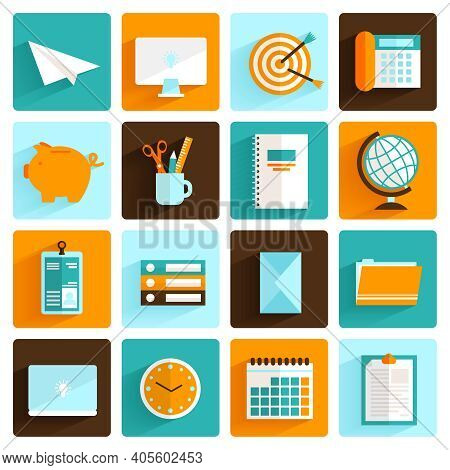 Office Desk Icons Flat Set Of Pass Folders Clock And Stationery Isolated Vector Illustration