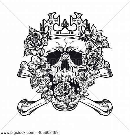 Monochrome King Skull With Roses In Mouth Vector Illustration. Royal Skull Wearing Crown And Surroun