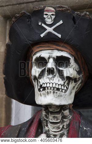Somerset, Uk - April 8, 2019. Old Skeleton At Wookey Hole Caves, Mendip Hills Near Wells In Somerset