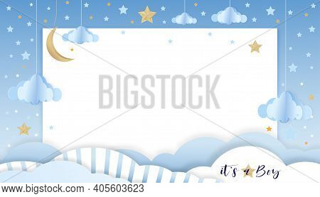 Vector Illustration For Baby Boy Shower Card On Blue Background,paper Art Abstract Origami Cloudscap
