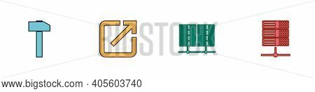 Set Hammer, Open In New Window, Server, Data, Web Hosting And Icon. Vector