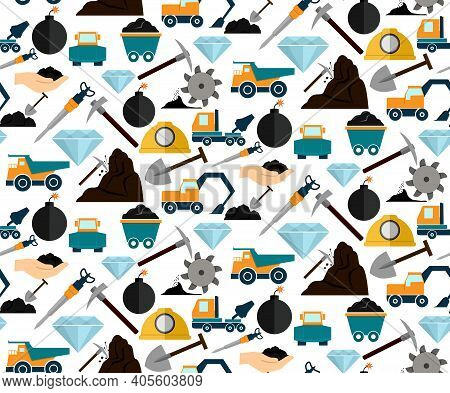 Mining And Mineral Excavation Equipment And Machinery Seamless Pattern Vector Illustration
