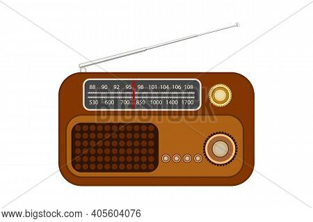 Old Radio With Antenna Isolated On White Background. Vintage Portable Radio Receiver. World Amateur