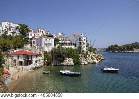 Skiathos, Greece - August 13, 2019. Coastline Of Skiathos Town. Greece, August 13, 2019.