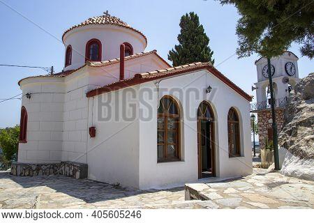 Skiathos, Greece - August 13, 2019. Dome Roof Of Church, Skiathos Town, Greece, August 13, 2019.