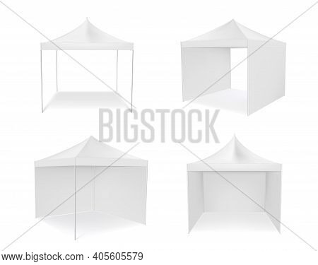 Pop Up Canopy Tent With And Without Walls Realistic Mockups Set. Commercial Shade Shelter Templates.