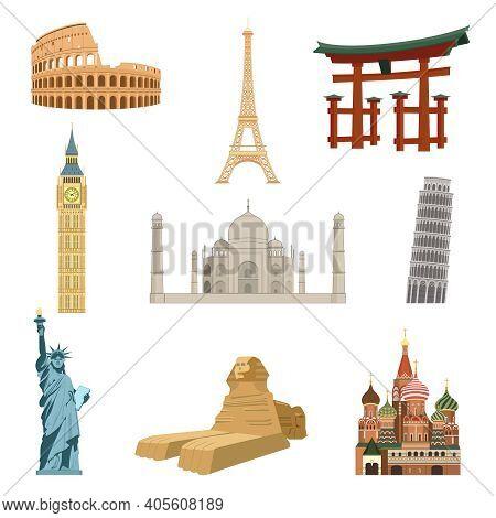 World Famous Landmarks Set Of Eiffel Tower Statue Of Liberty Taj Mahal Isolated Vector Illustration