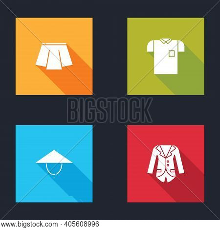 Set Skirt, Polo Shirt, Asian Conical Hat And Blazer Or Jacket Icon. Vector