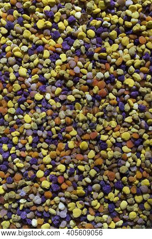 Natural Bee Pollen Close Up. Bee Pollen Pellets Come In A Variety Of Colors And Shapes.