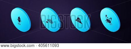 Set Isometric Crab, Fisherman Hat, Spinning Reel For Fishing And Fishing Lure Icon. Vector