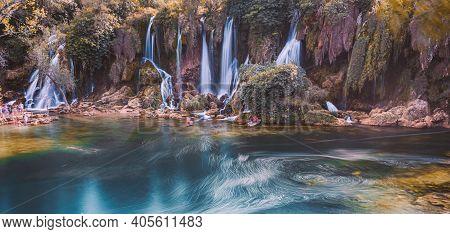 Kravice Waterfalls, Bosnia And Herzegovina - September 10, 2015: People Visiting Waterfalls. Bosnia