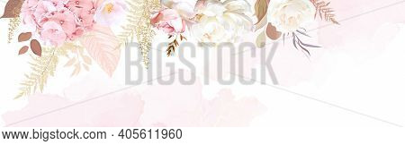 Luxurious Beige Trendy Vector Design Watercolor Banner Frame. Ivory Rose, Blush Pink Hydrangea, Came