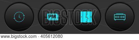 Set Clock, Pm, And Digital Alarm Clock Icon. Vector