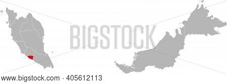 Melaka State Isolated On Malaysia Map. Gray Background. Business Concepts And Backgrounds.
