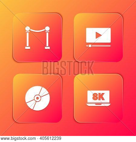 Set Rope Barrier, Online Play Video, Cd Or Dvd Disk And Laptop With 8k Icon. Vector