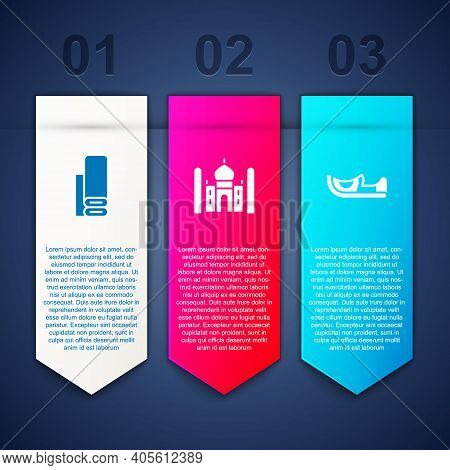 Set Indian Textile Fabric, Taj Mahal And Shoes. Business Infographic Template. Vector