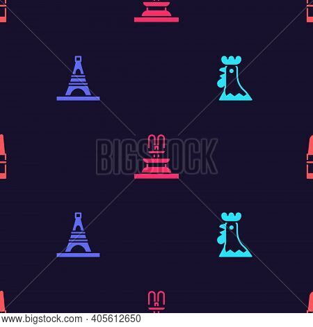 Set French Rooster, Eiffel Tower, Fountain And Lipstick On Seamless Pattern. Vector