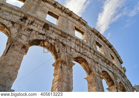 Ancient Roman Amphitheater Arena Ruins In Pula, Croatia.