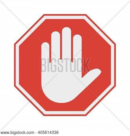Red Octagonal Stop Sign Arm. Stop Hand Symbol For Prohibited Activities. No Entry. Vector Illustrati