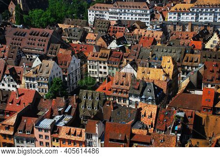 Summer View Of Authentic Houses In The French City Of Strasbourg In Alsace Province.
