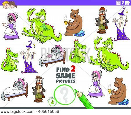 Cartoon Illustration Of Finding Two Same Pictures Educational Task With Fairy Tale Characters