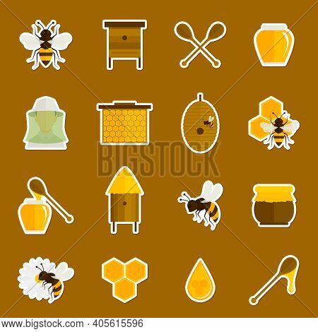 Bee Honey Icons Stickers Set With Spoon Jar Bumblebee Isolated Vector Illustration