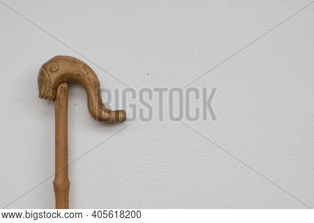 Wooden Shepherd's Crook Head Of Shepards Walking Stick On A White Background.traditional Greek Canes