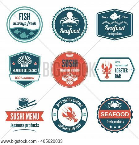 Seafood Always Fresh Fish Products Delicacies Sushi Japanese Cuisine Lobster Bar Icons Set Isolated