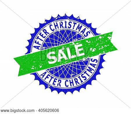 Vector After Christmas Sale Bicolor Stamp Seal With Scratched Texture. Blue And Green Colors. Flat S