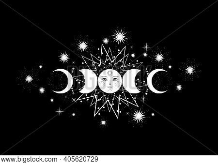 Triple Moon, Pagan Wiccan Goddess Symbol, Moon Phases, Sun System, Orbits Of Planets, Stars, Energy