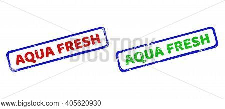 Vector Aqua Fresh Framed Imprints With Corroded Style. Rough Bicolor Rectangle Seals. Red, Blue, Gre