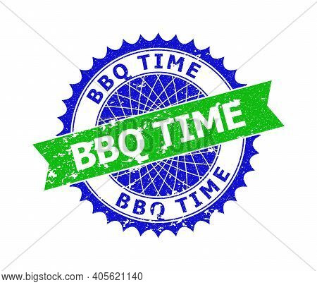 Vector Bbq Time Bicolor Stamp Seal With Grunged Style. Blue And Green Colors. Flat Seal With Bbq Tim
