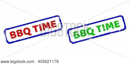 Vector Bbq Time Framed Imprints With Distress Style. Rough Bicolor Rectangle Seal Stamps. Red, Blue,
