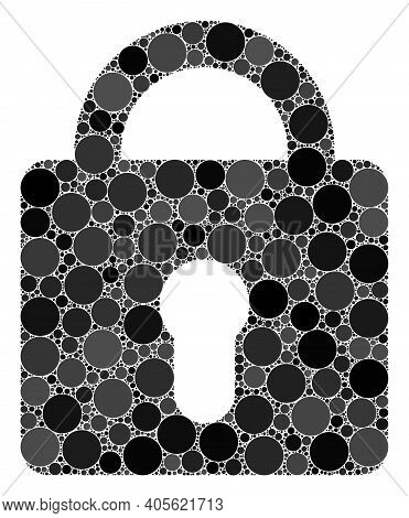 Lock Raster Composition Of Circle Dots In Various Sizes And Color Shades. Circle Dots Are Organized
