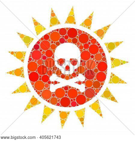 Death Sun Radiation Raster Mosaic Of Circle Dots In Variable Sizes And Color Tinges. Circle Dots Are